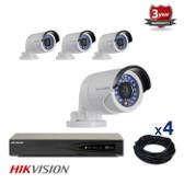 4 INDOOR/OUTDOOR IP HIKVISION CAMERAS CCTV KIT, 1.3 MEGAPIXELS, POE, IR NIGHT VISION UP TO 30 METERS, 4CKH2012