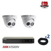 2 indoor/outdoor IP dome cameras CCTV KIT, 4 MEGAPIXELS, POE, IR NIGHT VISION UP TO 30 METERS, 2CKH2342, EU plug