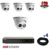 4 INDOOR/OUTDOOR IP DOME CAMERAS CCTV KIT, 4 MEGAPIXELS, POE, IR NIGHT VISION UP TO 30 METERS, 4CKH2342, EU plug