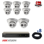 8 INDOOR/OUTDOOR IP DOME CAMERAS CCTV KIT, 4 MEGAPIXELS, POE, IR NIGHT VISION UP TO 30 METERS, 8CKH2342, EU plug