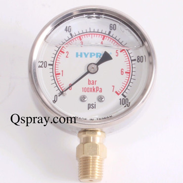 Pressure Gauge 100 PSI - Liquid Filled