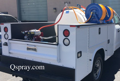 Utility bed sprayer with dual reels