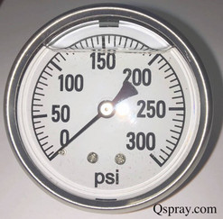 Pressure Gauge 300 PSI - Liquid Filled, Back Mount