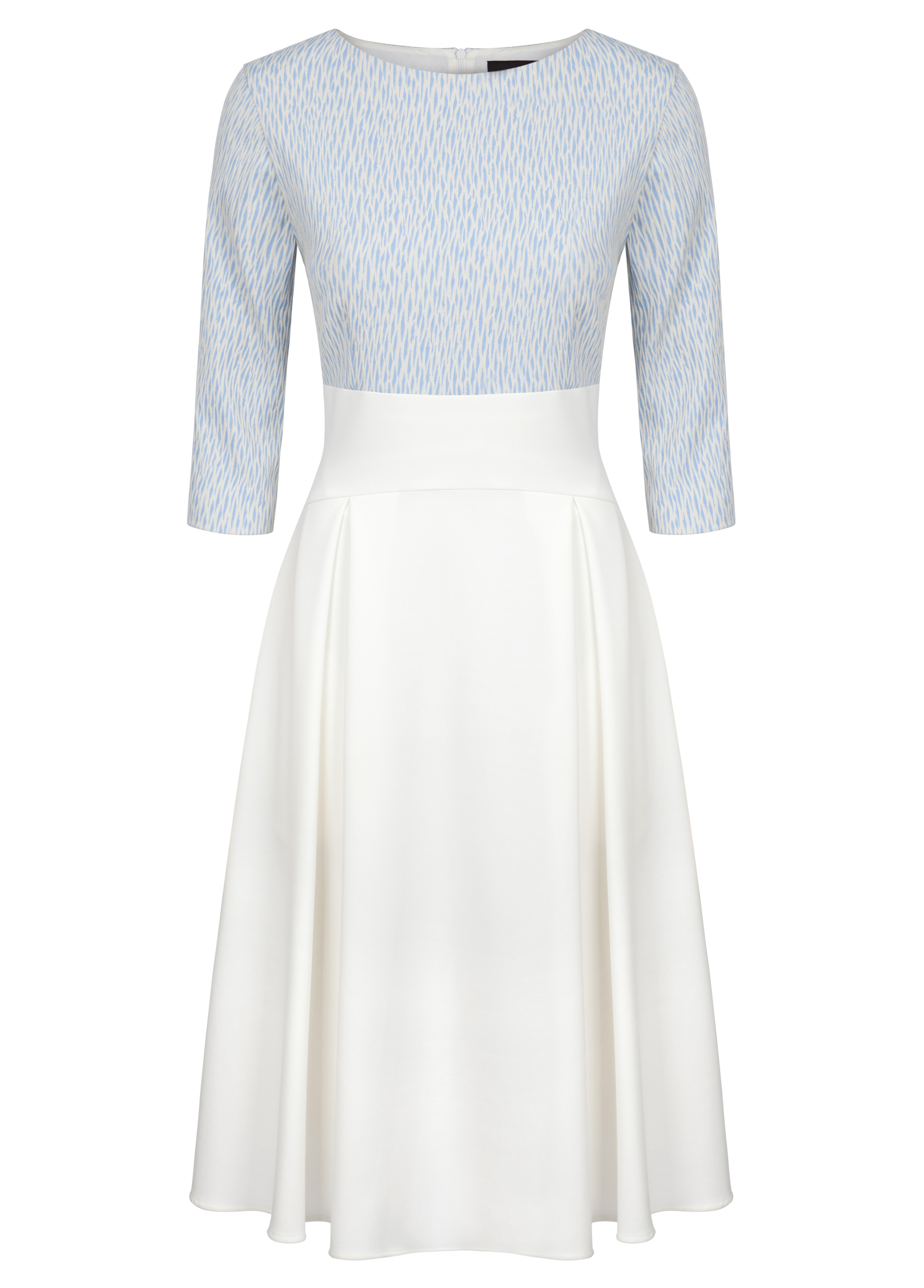 Fee G Ivory and Blue Jaquard Dress