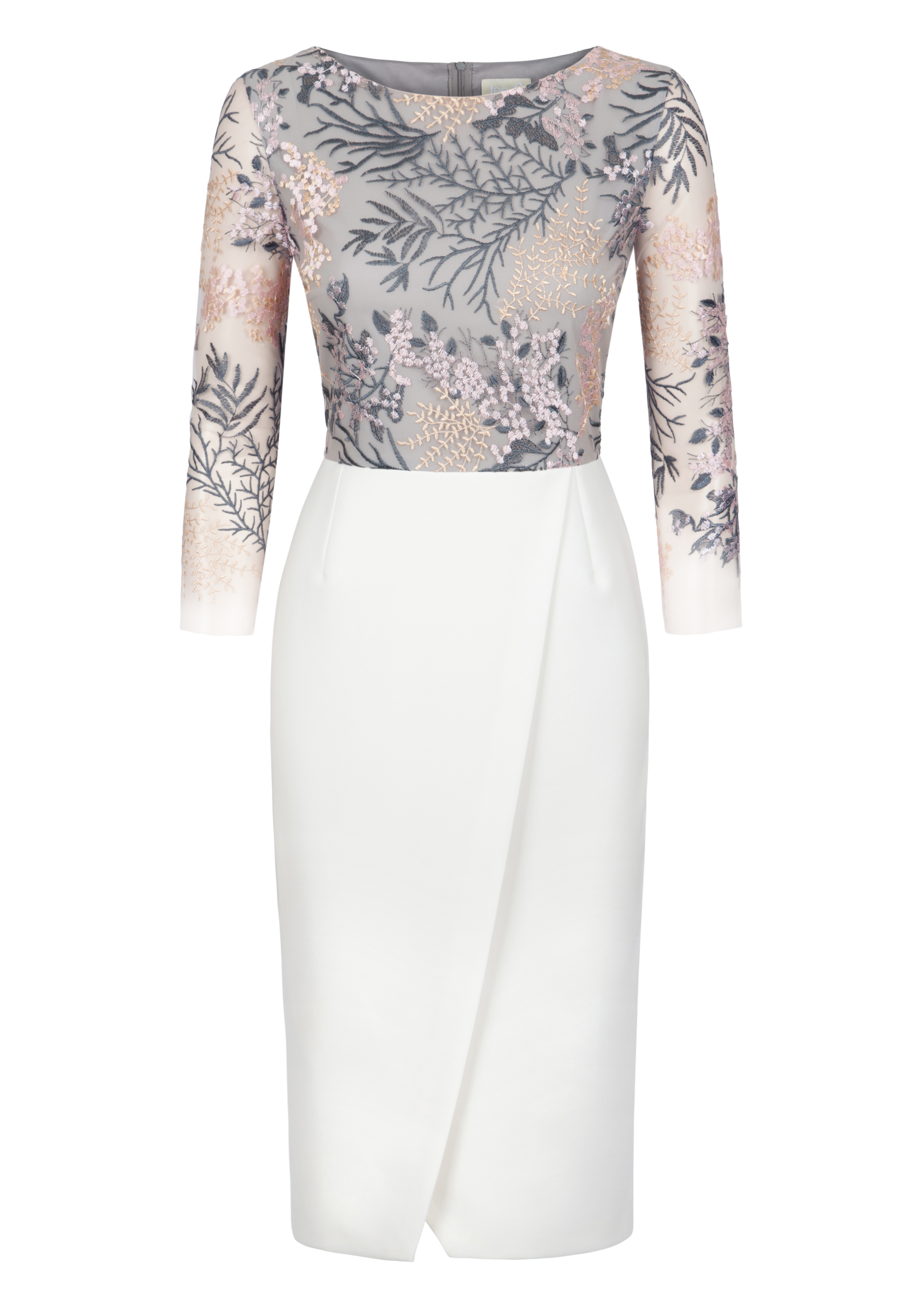Grey and Ivory Fee G Floral Embroidered Dress