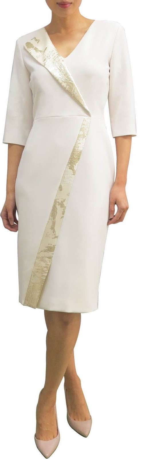 Fee G Cream and Gold Tuxedo Style Dress