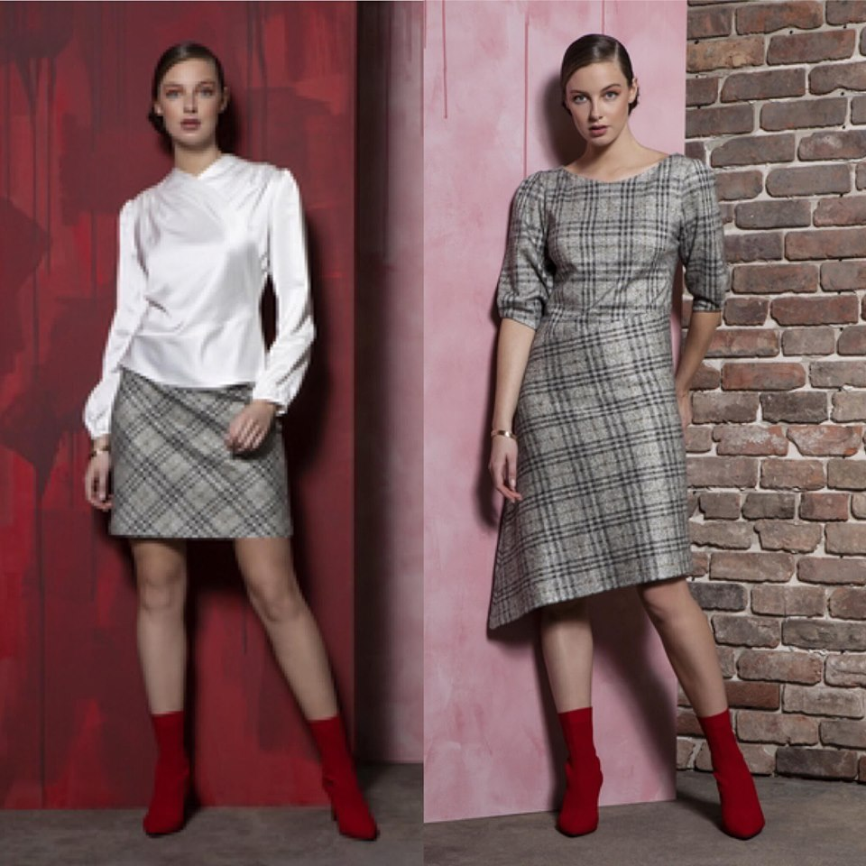 Caroline Kilkenny Chloe tweed dress, Caroline Kilkenny Maggie Skirt