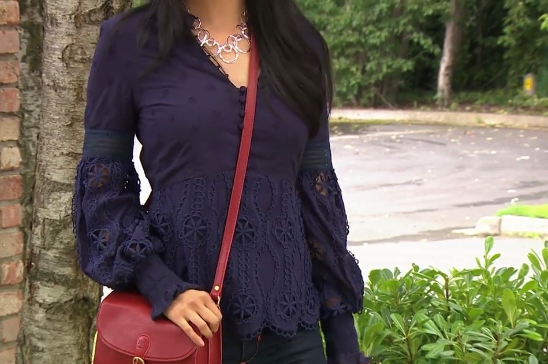 Fee G Broderie Anglaise Top Navy