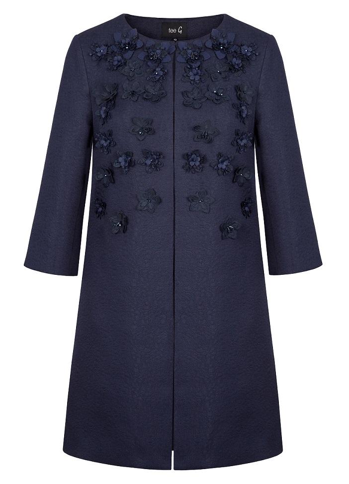 Fee G Embellished Navy Coat