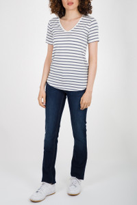 Majestic Navy Stripe V Neck Top