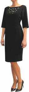 Fee G Navy Dress With Pearl Detail