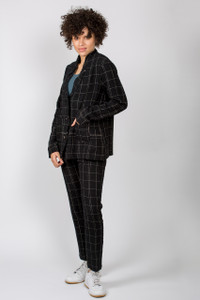 Transit Par Such Black Check Trousers