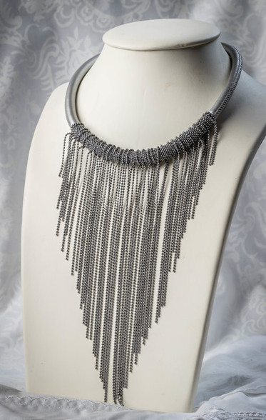 Pat Whyte Leather Chain Choker Style Silver Neck Piece