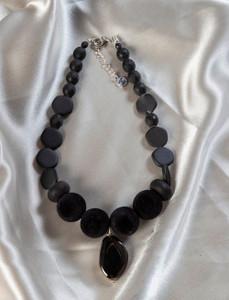 Pat Whyte Black Velvet Beads Necklace