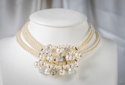 Pat Whyte Pearl Cluster 5 Strand Choker Style Neck Piece
