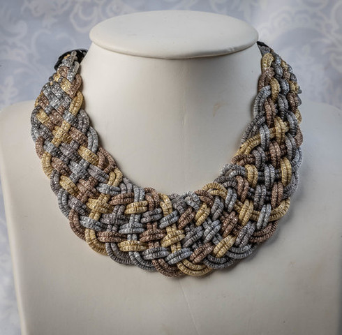 Pat Whyte Woven Gold Silver Bronze Neck Piece