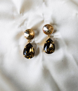 Pat Whyte Small Tear Gold Bronze Drop Earrings