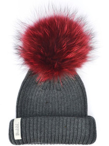 Classic Hat Charcoal with Big Red Bobble