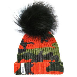 Bobbl Classic Print Hat Orange with Black Bobble