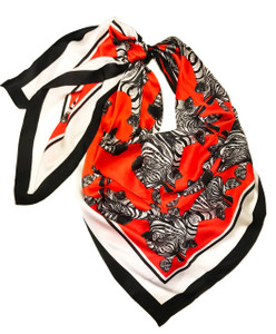 Debbie M Zebra Necktie Red Orange
