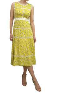 Fee G Cotton Print Dress K724 Yellow