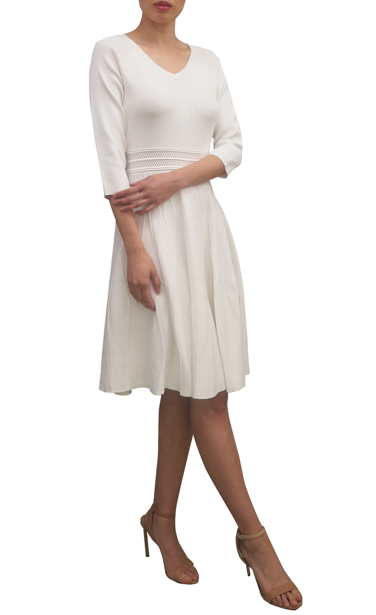 Fee G V Neck Knit Dress Cream