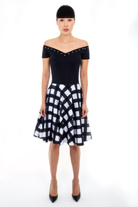 Chiara Boni Pearl Sleeve Print Dress