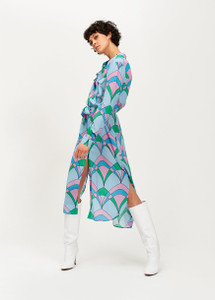 Essentiel Antwerp light Blue graphic Trootroo print Shirt dress