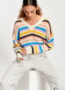 Essentiel Antwerp Toy Multicolored light knit V-neck sweater