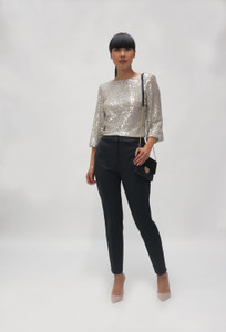 Fee G  Silver  Sequins Top