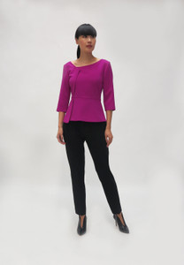 Fee G Magenta Peplum Top