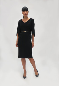 Fee G Black V neck Belted Dress