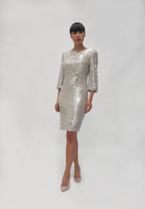 Fee G  Silver Sequins Embellished Dress