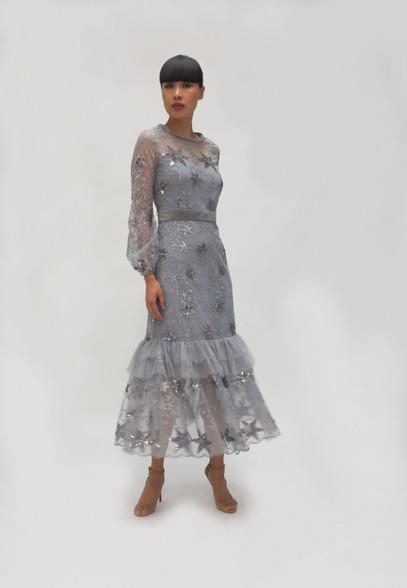 Fee G Silver Star Grey Dress