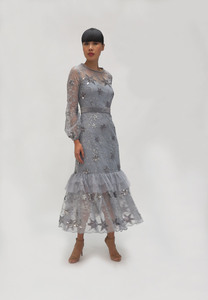 Fee G Silver Star Grey Dress