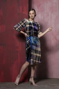 Caroline Kilkenny Checked Velvet Dress