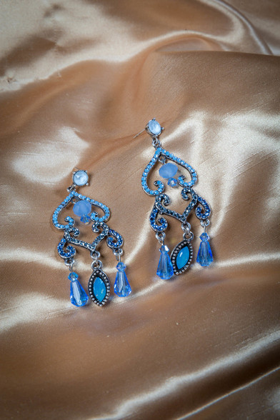 Pat Whyte Diamonte Earrings Blue