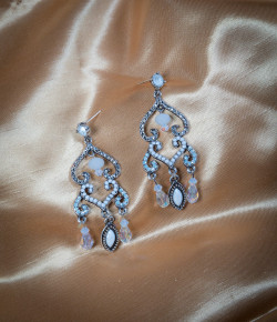 Pat Whyte Diamonte Earrings White