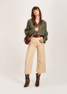 Essentiel Antwerp Tubin Oversized Frilled Shirt Green