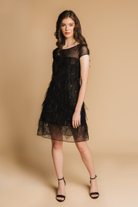 Charlotte Lucas Ava Black Feather Dress