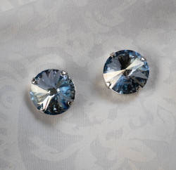 Pat Whyte Blue Rivoli Earrings
