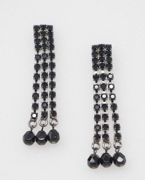 Pat Whyte Black Triple Jet Earrings