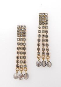 Pat Whyte Gunmetal Triple Strand Earrings