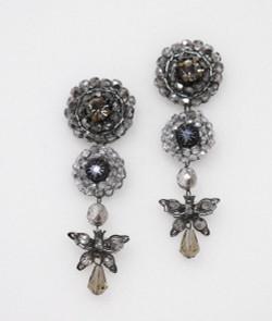 Pat Whyte Gunmetal Long Flower Earrings