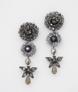 Pat Whyte Gunmetal Long Flower Earrings
