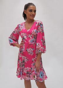 Fee G Short Floral Pink Dress