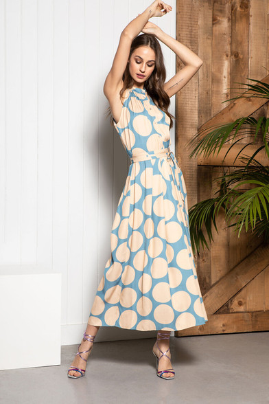Caroline Kilkenny Blue and Beige Elena Dress