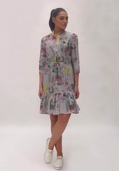 Fee G Grey Scribble Shirt Dress