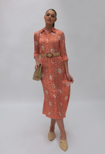 Fee G Orange Daisy Shirt Dress
