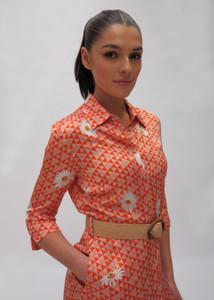 Fee G Orange Daisy Shirt Dress